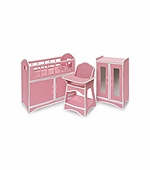 Badger Basket Doll Furniture <br />Folding Doll Furniture Set with Storage Crib, High Chair & Armoire