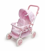 Badger Basket Doll Furniture <br />Folding Double Doll Front-to-Back Stroller - Pink Gingham