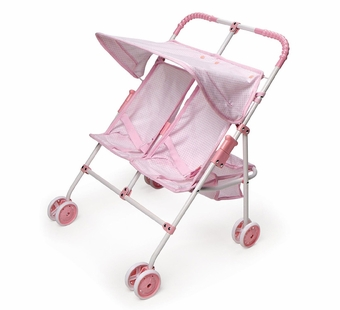 Badger Basket Doll Furniture <br />Folding Double Doll Umbrella Stroller - Pink Gingham