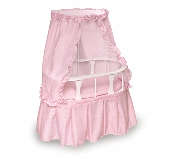 Badger Basket Doll Furniture <br />Oval Doll Bassinet with Canopy & Pink Gingham Bedding