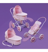 Badger Basket Doll Furniture <br />Pink Gingham 3-in-1 Doll Pram, Carrier & Stroller