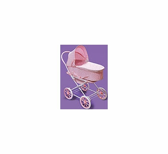 Badger Basket Doll Furniture <br />Pink Rosebud 3-in-1 Doll Pram, Carrier, & Stroller