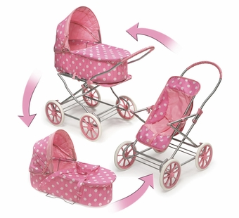 Badger Basket Doll Furniture <br />Pink with White Polka Dots 3-in-1 Doll Pram, Carrier, & Stroller