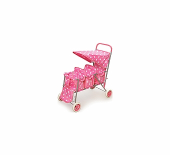 Badger Basket Doll Furniture <br />Polka Dots Triple Doll Stroller