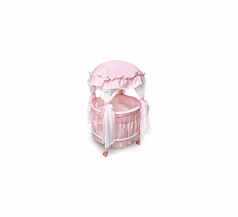 Badger Basket Doll Furniture <br />Royal Pavilion Round Doll Crib with Canopy and Bedding