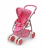 Badger Basket Doll Furniture <br />Six Wheel Doll Travel System Stroller and Carrier - Pink Polka Dots