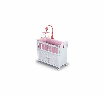 Badger Basket Doll Furniture <br />White Doll Crib with Cabinet, Bedding & Mobile