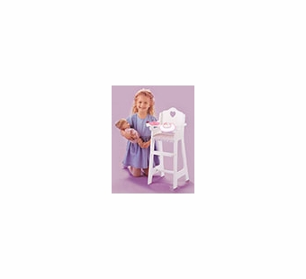 Badger Basket Doll Furniture <br />White Doll High Chair with Plate, Bib, and Spoon