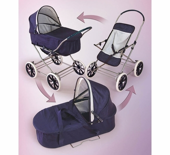 Badger Basket <Br />Navy and White 3-in-1 Doll Pram Carrier Stroller