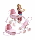 Badger Basket <Br />Pink Gingham 3-in-1 Pram/Carrier/Stroller