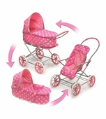 Badger Basket <Br />Pink with White Polka Dots 3-in-1 Doll Pram Carrier Stroller