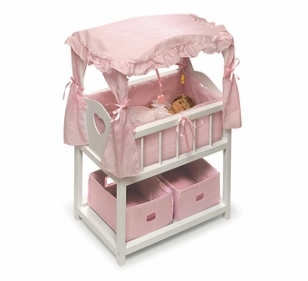 Badger Basket <Br />Princess Collection Canopy Doll Crib with Shelf, Two Baskets, Mobile