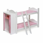 Badger Basket <Br />Princess Collection Doll Bunk Beds with Ladder and Storage Armoire