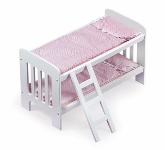 Badger Basket <Br />Princess Collection Doll Bunk Beds with Ladder Pink Gingham Bedding