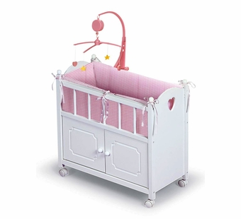 Badger Basket <Br />Princess Collection Doll Crib with Cabinet Mobile and Bedding