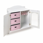Badger Basket <Br />Princess Collection Mirrored Doll Armoire with 3 Baskets, White