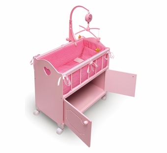 Badger Basket <Br />Princess Collection Pink Doll Crib with Cabinet, Bedding, Mobile, Wheels