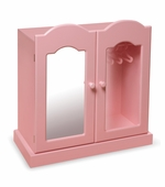 Badger Basket <Br />Princess Collection Pink Mirrored Doll Armoire with 3 Baskets and 3 Hangers