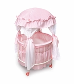 Badger Basket <Br />Princess Collection Royal Pavilion Round Doll Crib with Canopy and Bedding