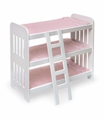 Badger Basket <Br />Princess Collection Triple Doll Bunk Bed with Ladder and Pink Gingham Mats