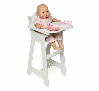 Badger Basket <Br />Princess Collection White Doll High Chair Pink Gingham with Plate Bib Spoon