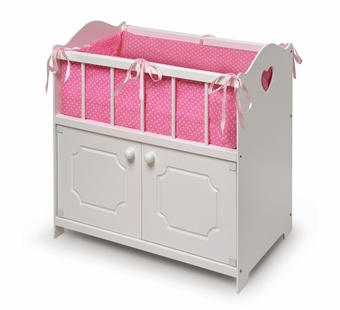 Badger Basket <Br />Princess Collection White Storage Doll Crib with Bedding