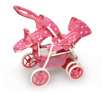 Badger Basket <Br />Reversible Double Doll Stroller - Pink Polka Dots