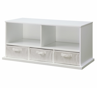 Badger Basket <Br />Shelf Storage Cubby with Three Baskets - White