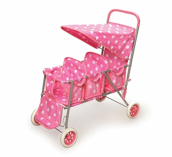 Badger Basket <Br />Triple Doll Stroller Pink with White Polka Dots