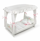 Badger Basket <Br />White Rose Collection Doll Canopy Bed