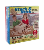 Brainy Baby <br />Stack & Stick Train Station Wooden Blocks