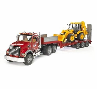 Bruder <br />MACK Granite Flatbed Truck with JCB Backhoe Loader