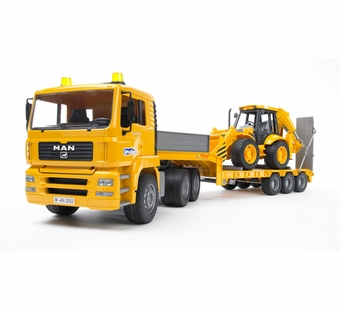 Bruder <br />MAN TGA Low Loader Truck with JCB 4CX Backhoe Loader