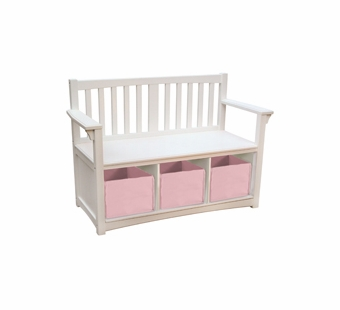 Guidecraft <br />Classic White Children's Storage Bench & Bins