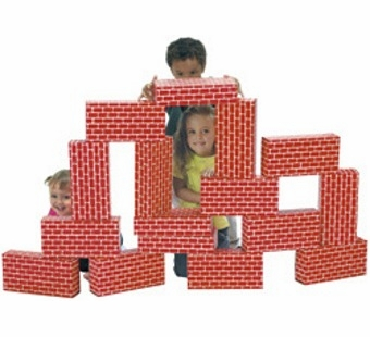 Imagibricks <br />Giant Red Cardboard Building Blocks 16 Piece Set