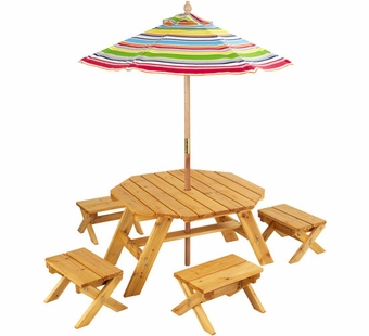 KidKraft <br />Octagon Table Set with Stools & Striped Umbrella