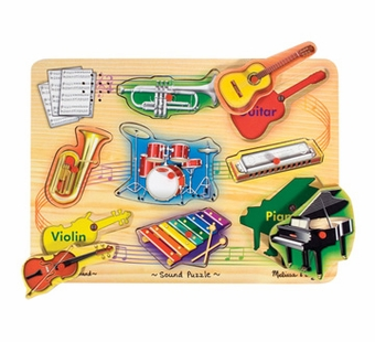 Melissa & Doug <br />Sound Musical Instruments Wooden Puzzle