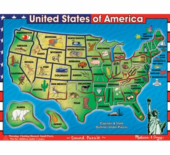 Melissa & Doug <br />Sound USA Map Wooden Map