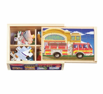 Melissa & Doug <br />Vehicles in A Box Wooden Puzzle