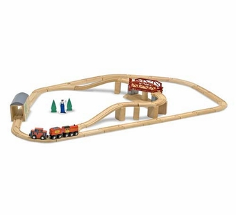 Melissa & Doug <br />Wooden Swivel Bridge Train Set