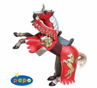Papo <br />Reared Up Red Horse With Unicorn Figurine #39248