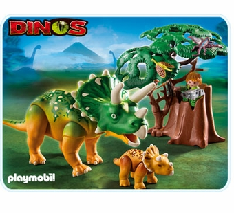 Playmobil <br />Explorer and Triceratop with Baby #5234