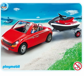 Playmobil <br />Red Car with Boat #5133