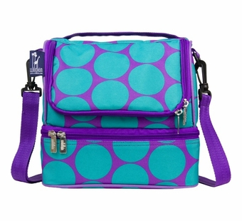 Wildkin <br />Big Dots Aqua Double Decker Lunch Bag