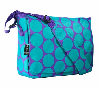 Wildkin <br />Big Dots Aqua Messenger Bag