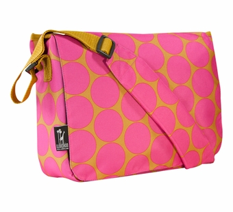 Wildkin <br />Big Dots Hot Pink Messenger Bag