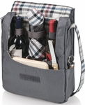 Picnic Time Britannia Dark Grey & Carnaby Plaid Wine Tote