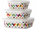 French Bull 3 Piece Ziggy Porcelain Container Set