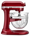KitchenAid Professional 6500 Design Bowl Lift Stand Mixer with Glass Bowl Candy Apple Red
