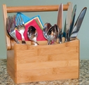 Lipper Bamboo Flatware Caddy With Folding Handle
